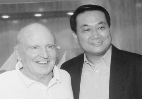 C.J. Liu, founder and Chairman of PPG and Jack Welch, Chairman and CEO of General Electric